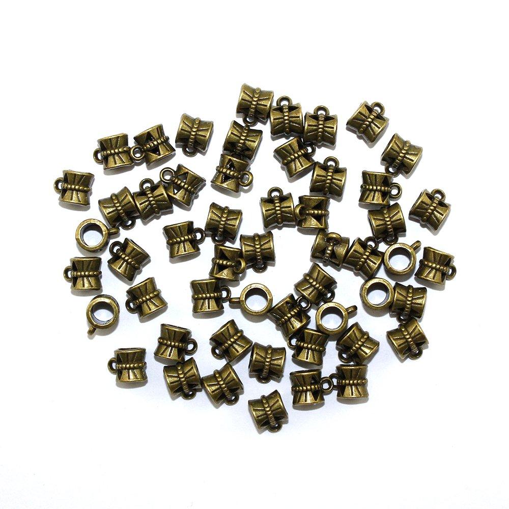 Kovový korálek s očkem - starobronzový - 10 x 7 x 7 mm - 1 ks