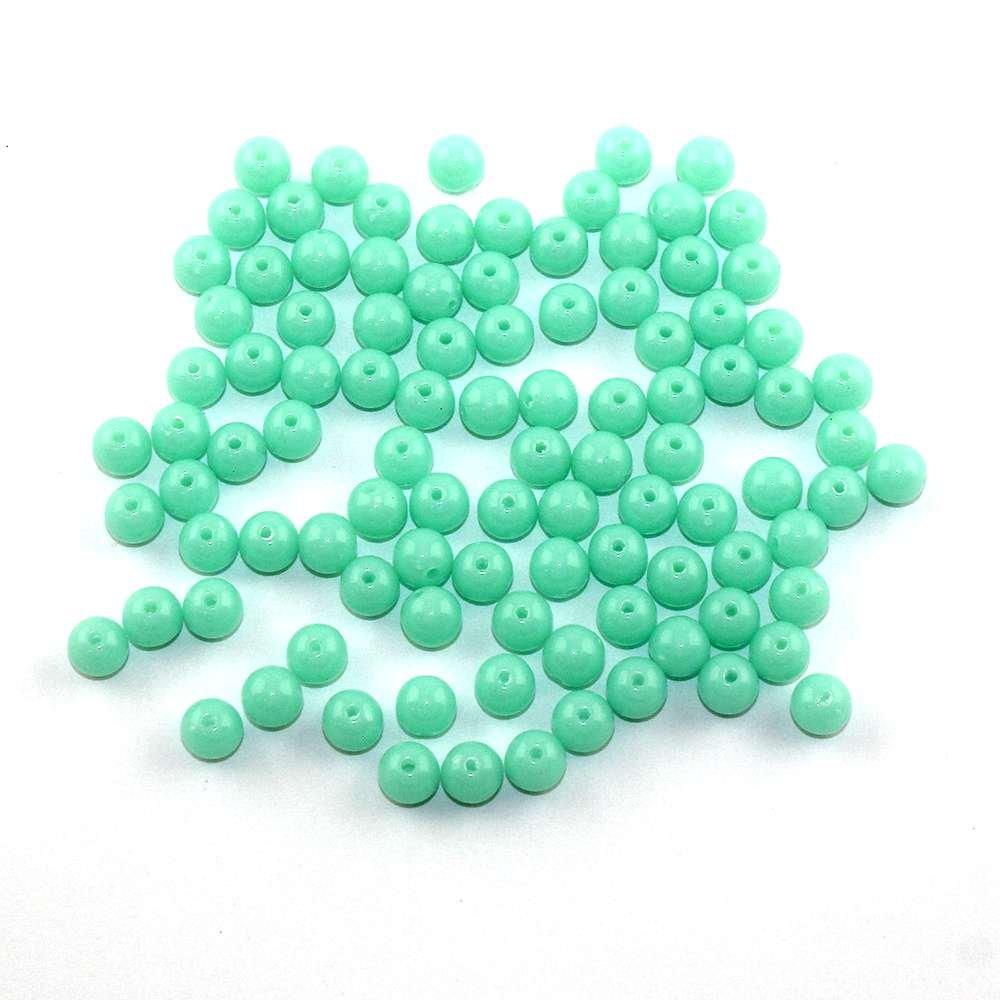 Akrylové neonové korálky - mátové - ∅ 8 mm - 10 ks