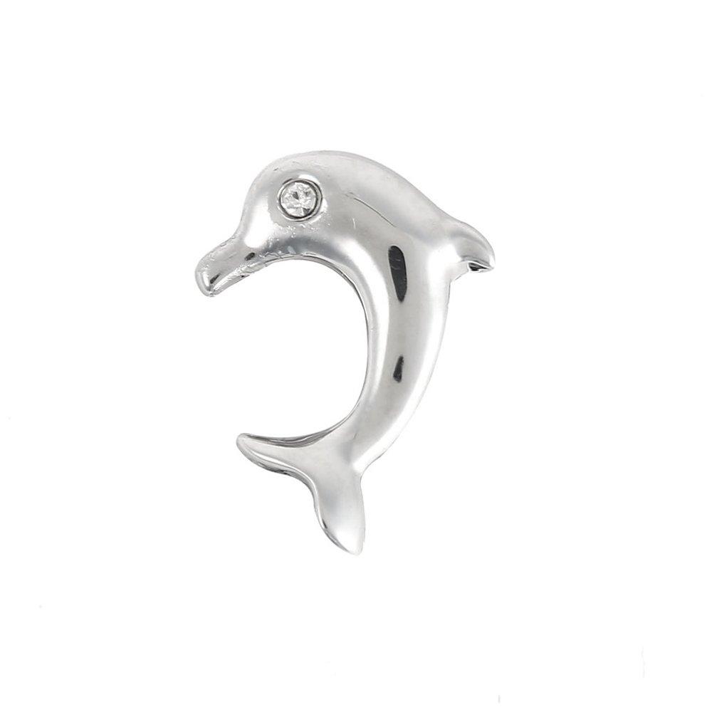 Korálek z nerezové oceli - platinový - delfín - 14 x 10 x 5,5 mm - 1 ks