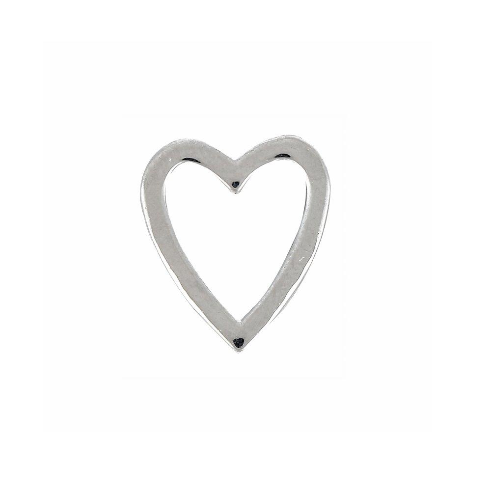 Korálek z nerezové oceli - platinový - srdce - 14,5 x 13 x 4,5 mm - 1 ks