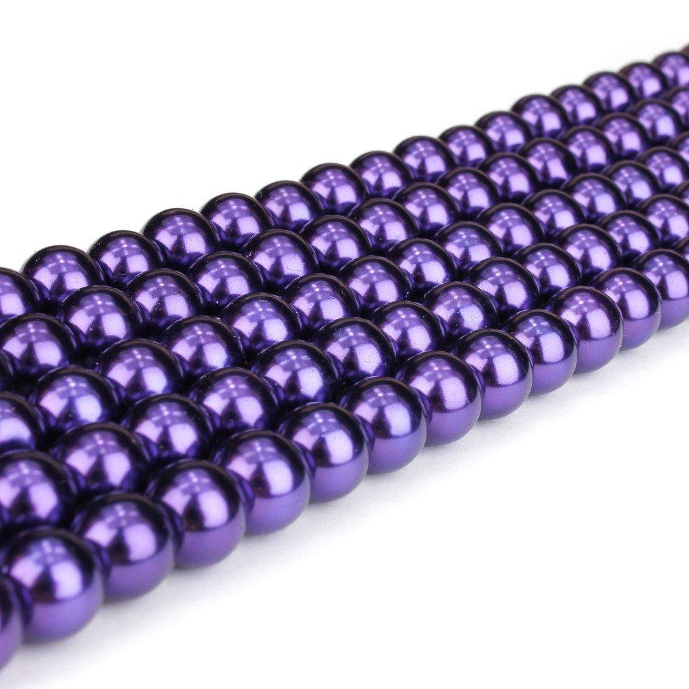 Voskované perly - tmavě fialové - Ø 8 mm - 10 ks