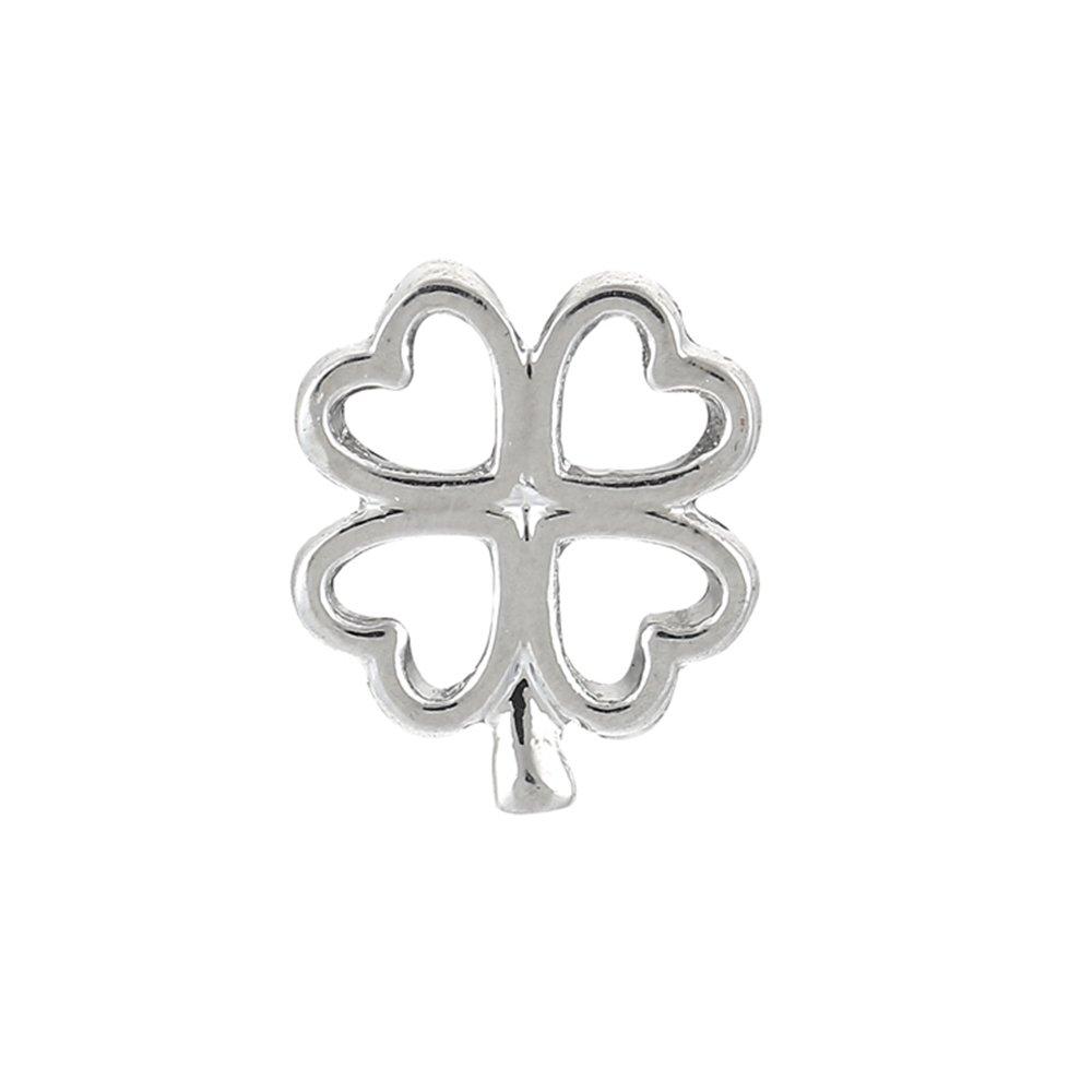 Korálek z nerezové oceli - platinový - čtyřlístek - 14,5 x 12,5 x 4,5 mm - 1 ks