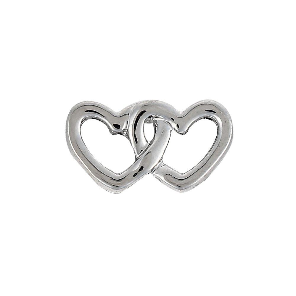 Korálek z nerezové oceli - platinový - dvojité srdce - 6,5 x 14,5 x 4,5 mm - 1 ks