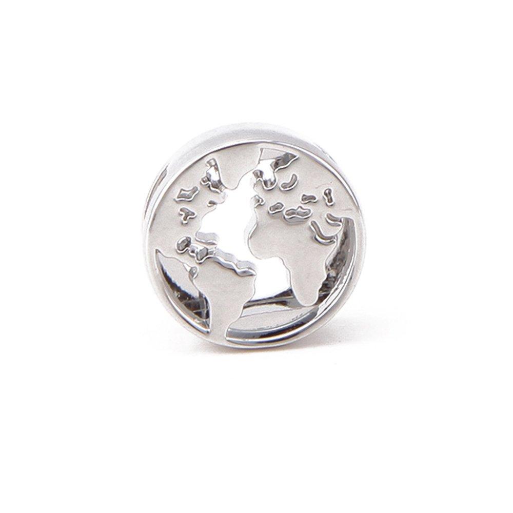 Korálek z nerezové oceli - platinový - zeměkoule - 14,5 x 14,5 x 5 mm - 1 ks