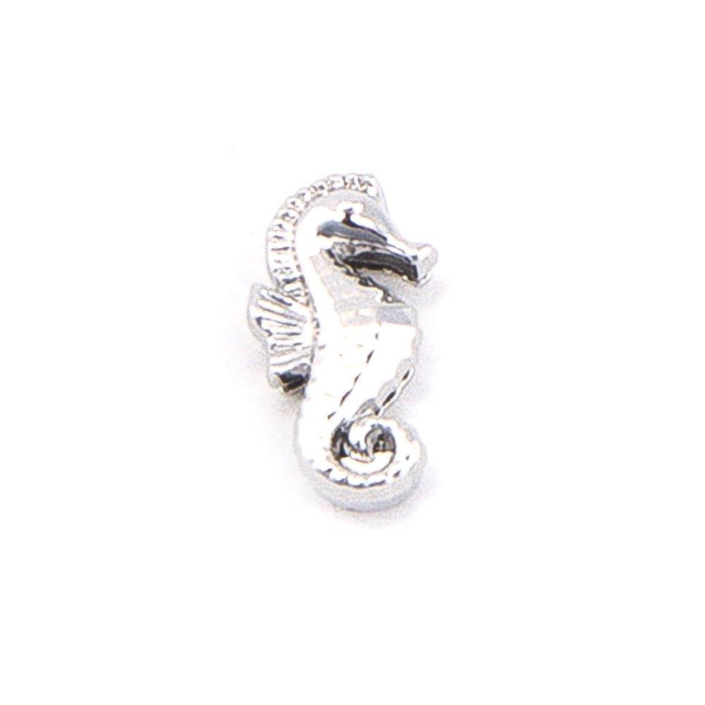 Korálek z nerezové oceli - platinový - mořský koník - 14,5 x 8 x 6 mm - 1 ks