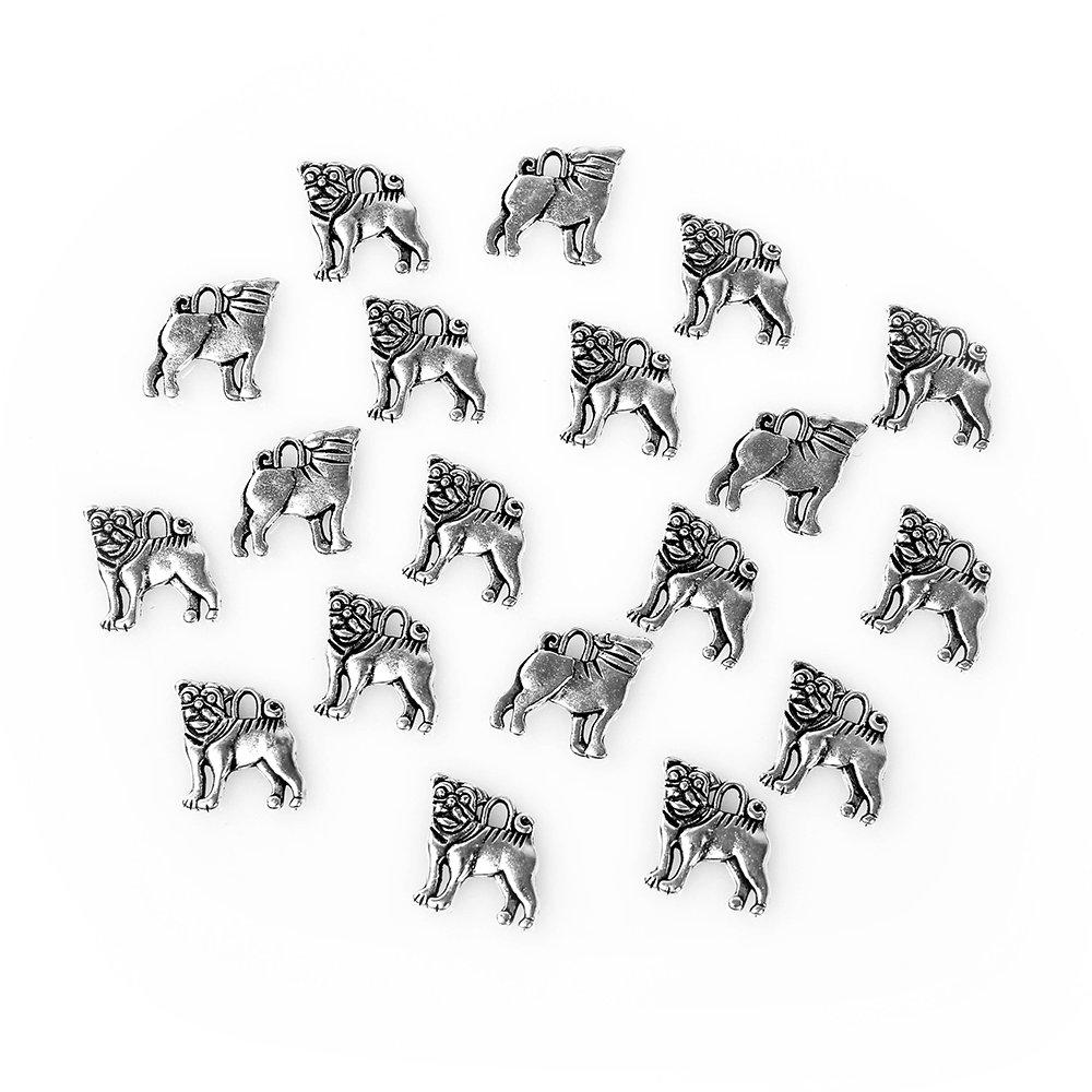 Kovový přívěsek - stříbrný - mops - 16 x 15 x 2 mm - 1 ks