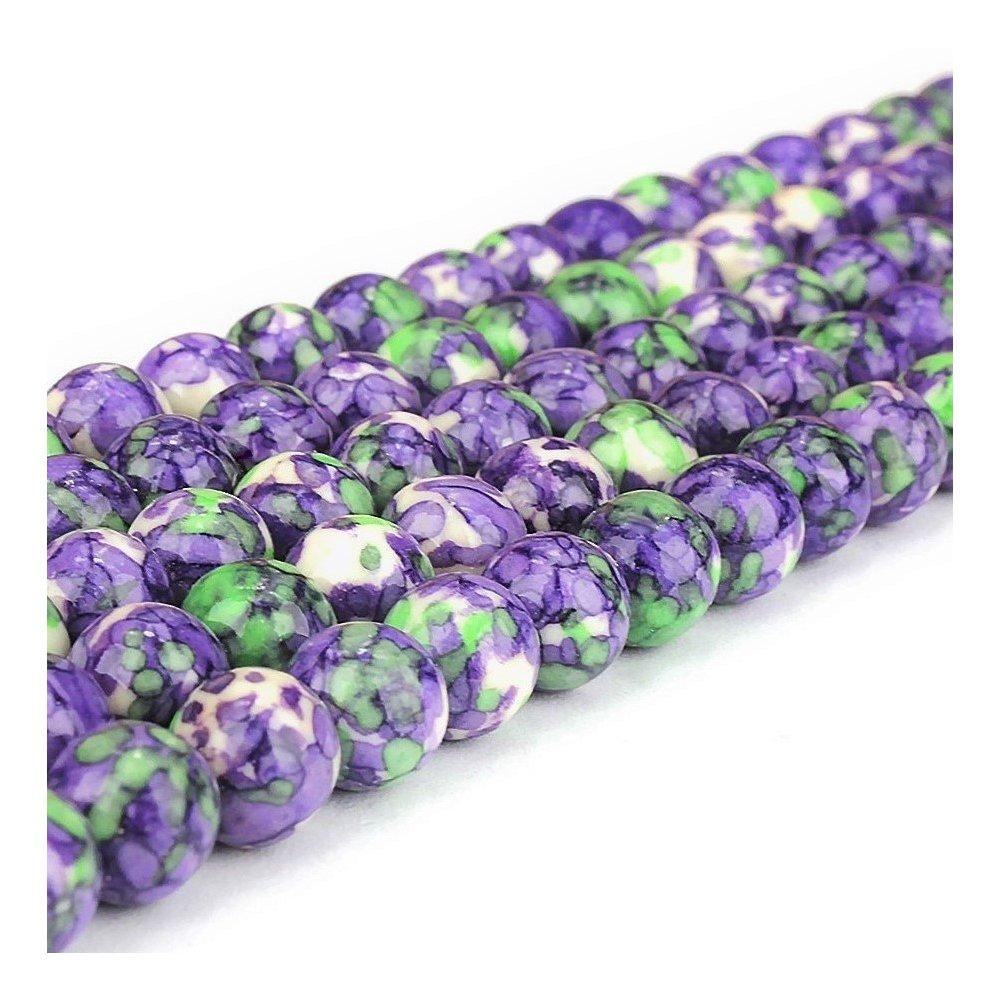 Syntetický oceánský nefrit - fialovozelený - ∅ 8 mm - 1 ks