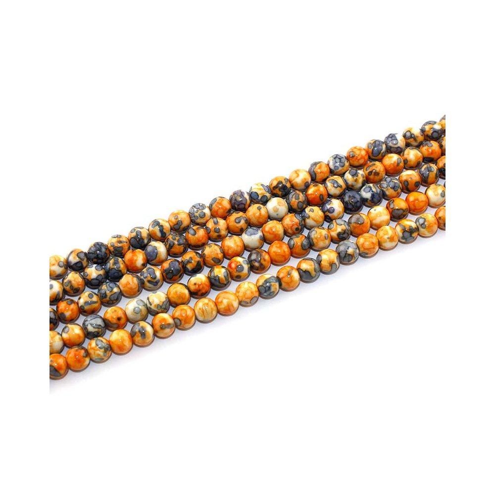 Syntetický oceánský nefrit - oranžovošedý - ∅ 6 mm - 1 ks