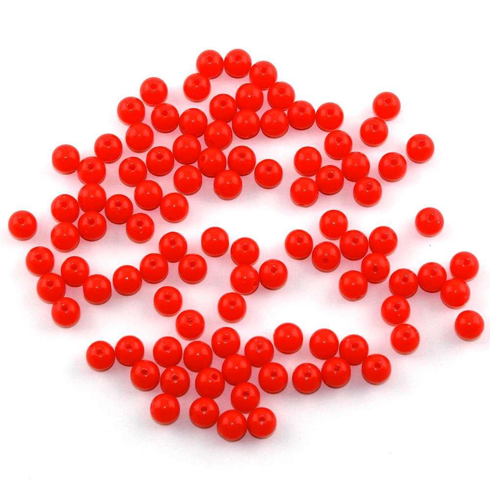 Akrylové neonové korálky - korálové - ∅ 8 mm - 10 ks