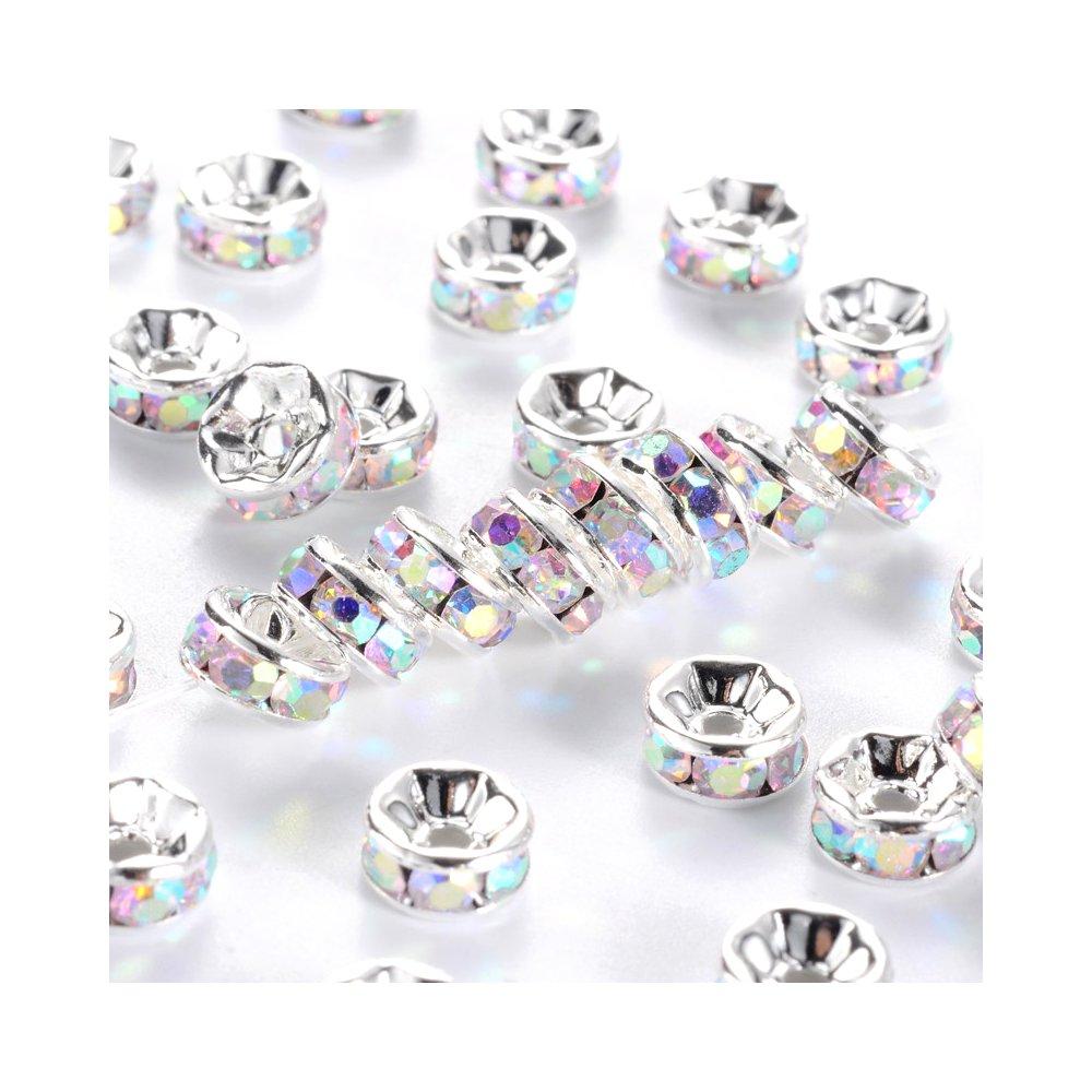 Mosazná rondelka - stříbrná - AB efekt - třída AAA - ∅ 7 x 3,2 mm - 1 ks