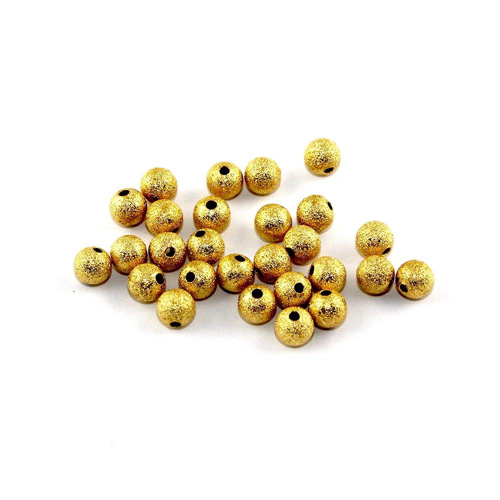 Mosazné korálky s hvězdným prachem - zlaté - ∅ 6 mm - 10 ks
