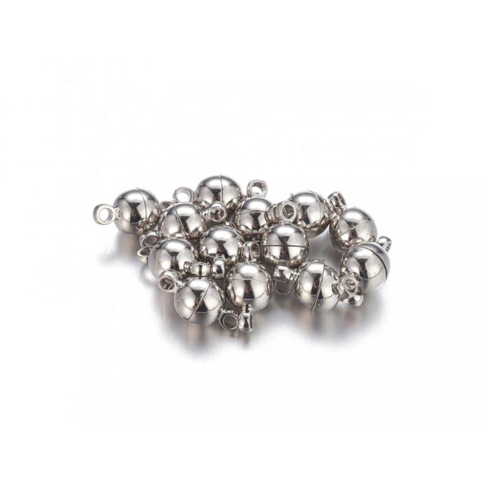 Mosazné magnetické zapínání - platinové - 11,5 x 6 mm - 1 ks