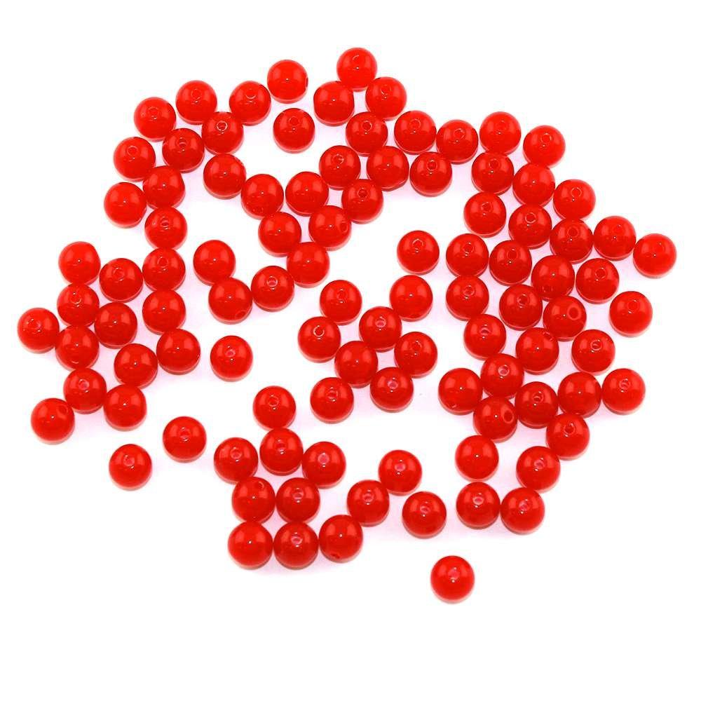 Akrylové neonové korálky - červené - ∅ 8 mm - 10 ks