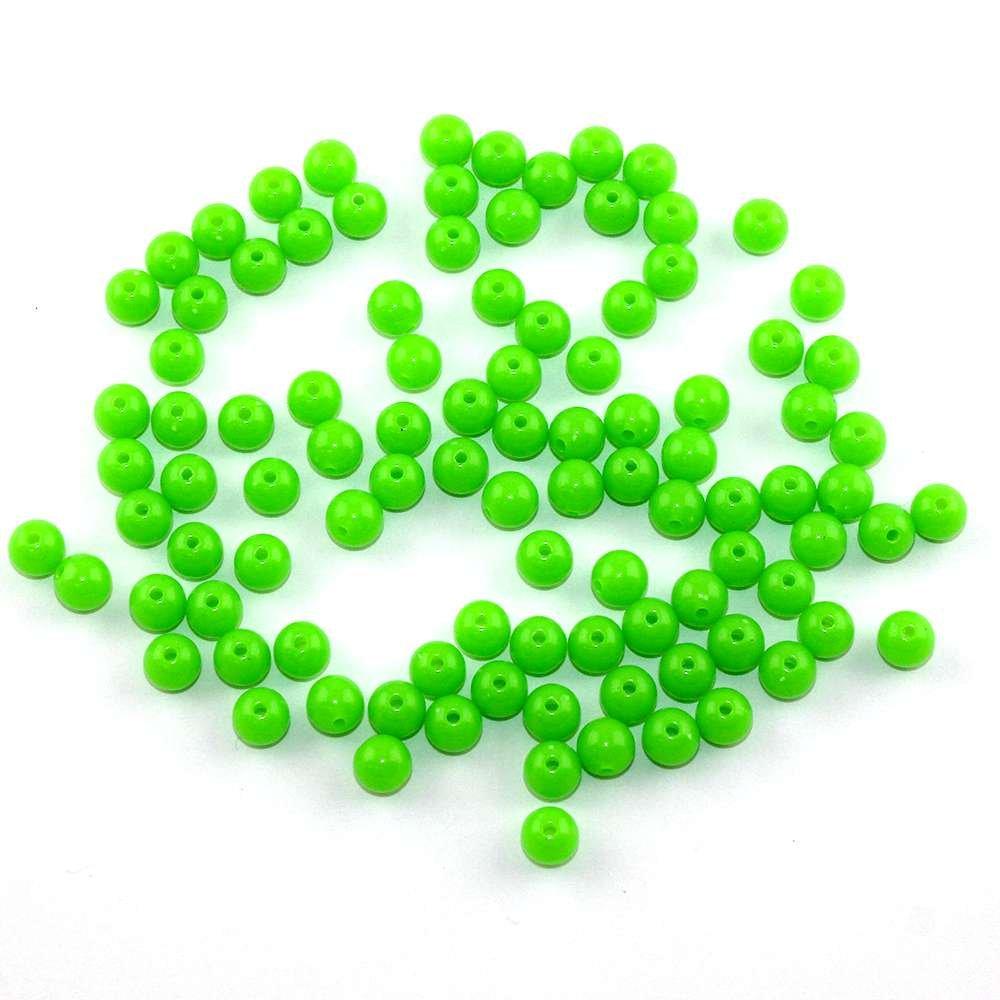Akrylové neonové korálky - zelené - ∅ 8 mm - 10 ks