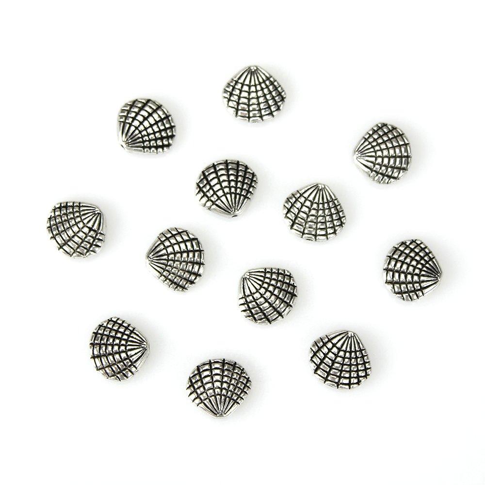 Kovový korálek - mušle - starostříbrný - 12 x 13 x 4 mm - stříbrná - 1 ks