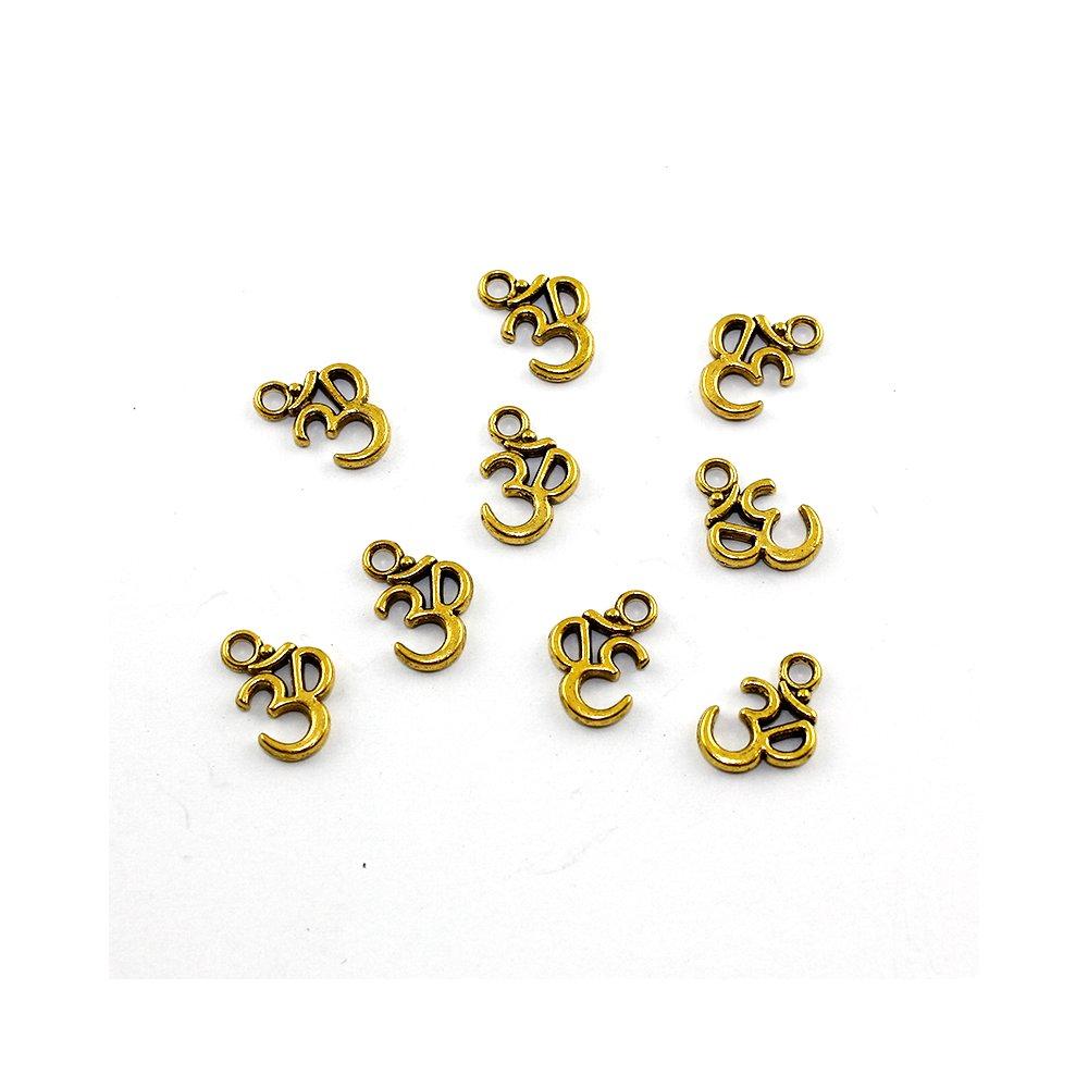 Kovový přívěsek - zlatý - slabika óm - 18 x 17 x 2 mm - 1 ks
