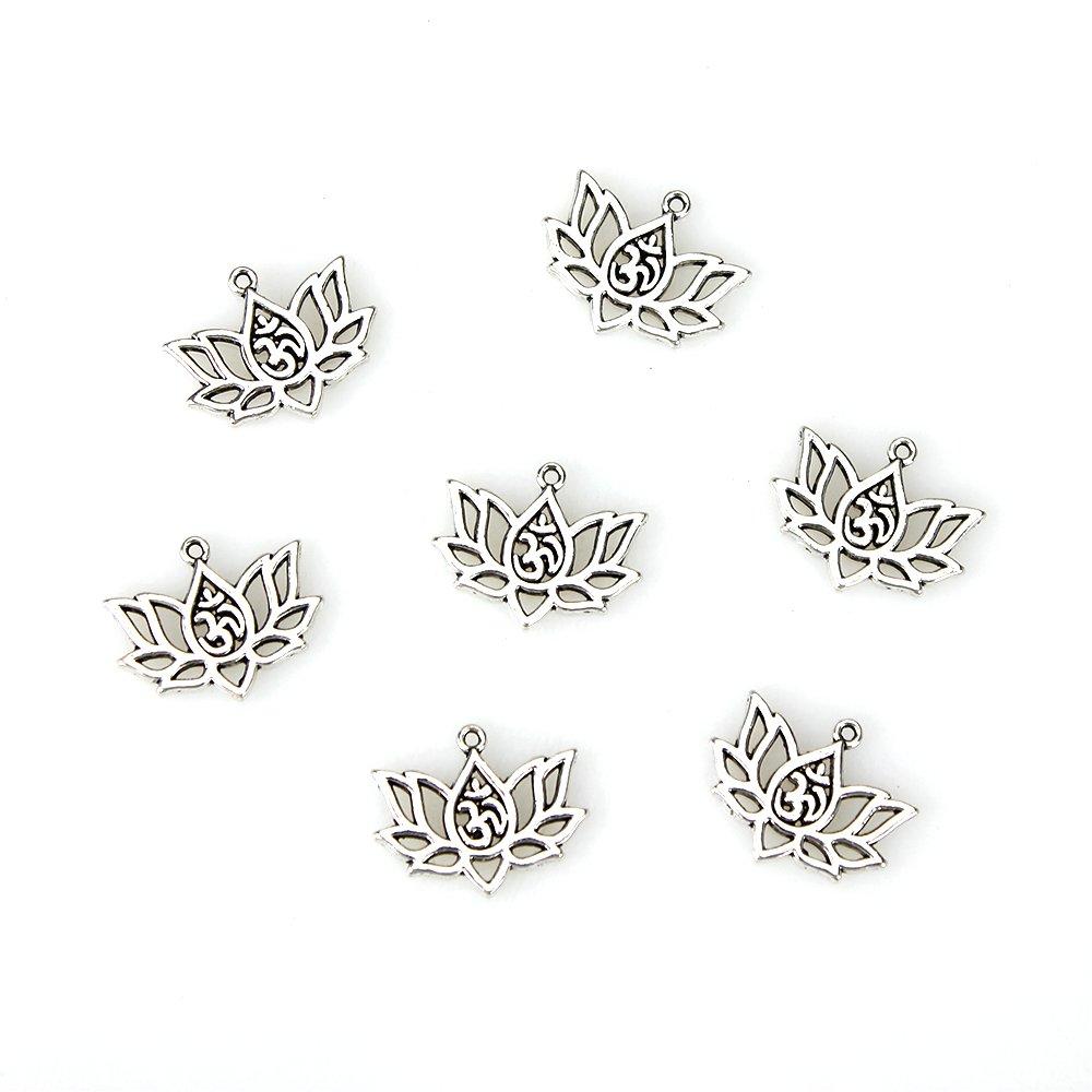 Kovový přívěsek - óm v lotosovém květu - starostříbrný - 16,5 x 20,5 x 1,5 mm - 1 ks