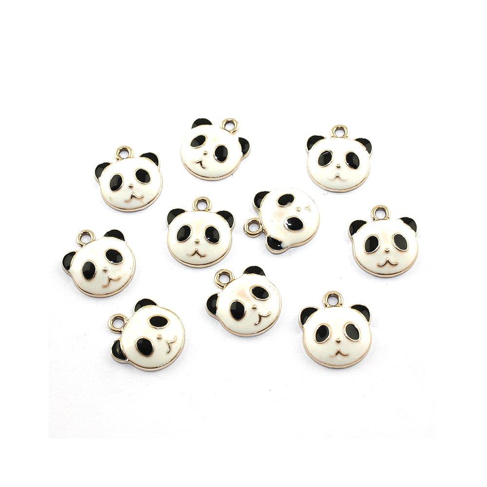Kovový přívěsek - zlatý - panda - 19 x 17 x 6 mm - 1 ks