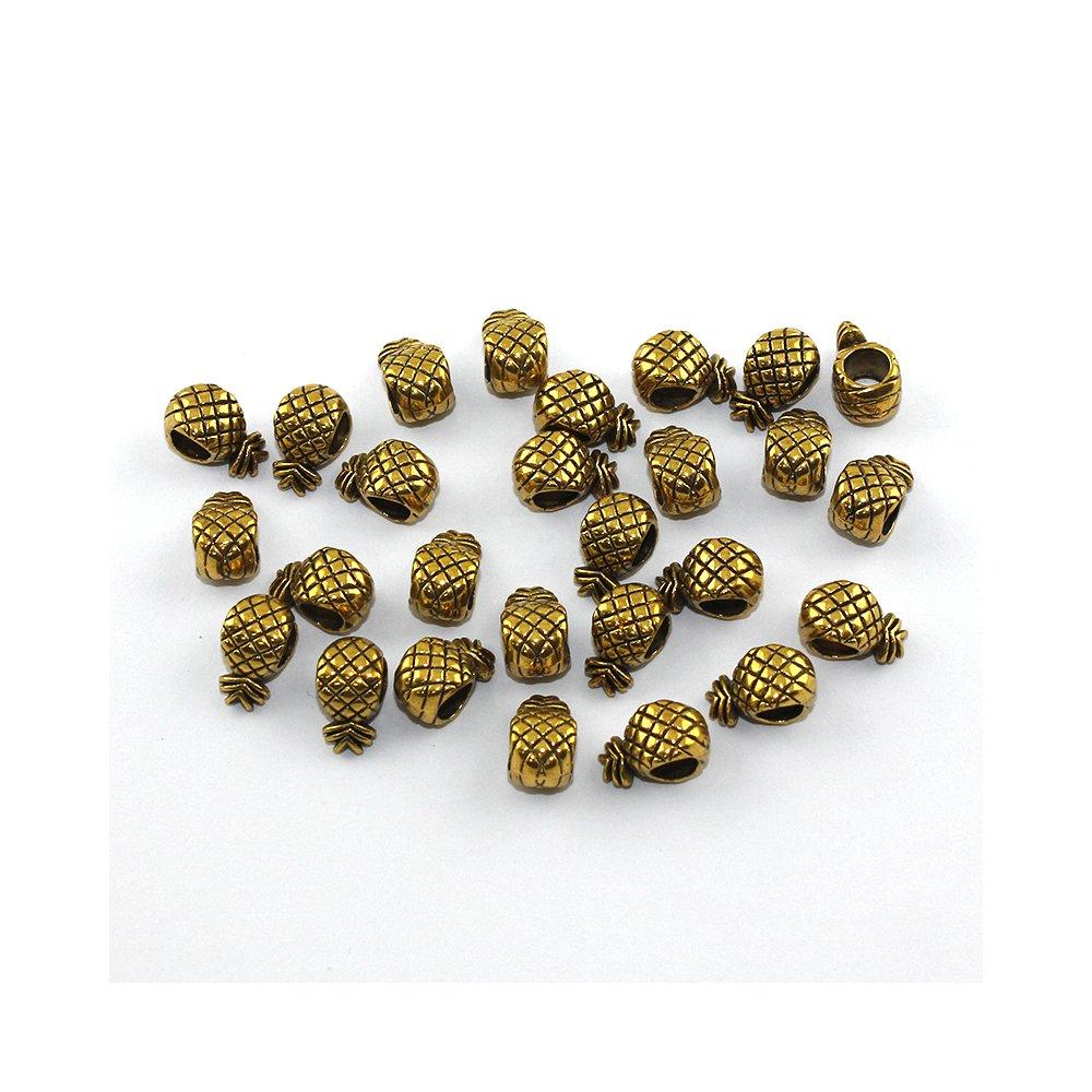 Korálek s širokým průvlekem - ananas - zlatý - 12 x 7 x 6 mm - 1 ks