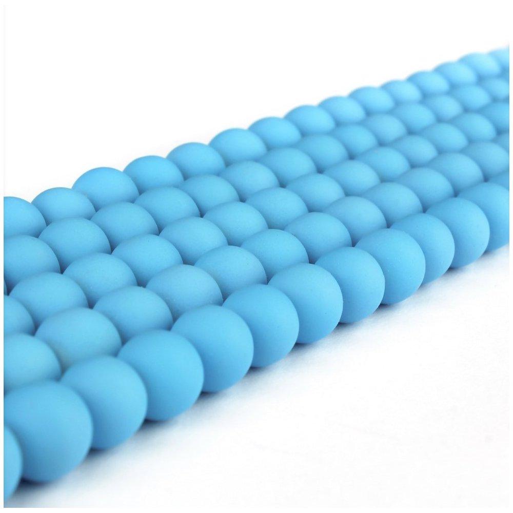 Pogumované korálky - světle modré - ∅ 8 mm - 10 ks