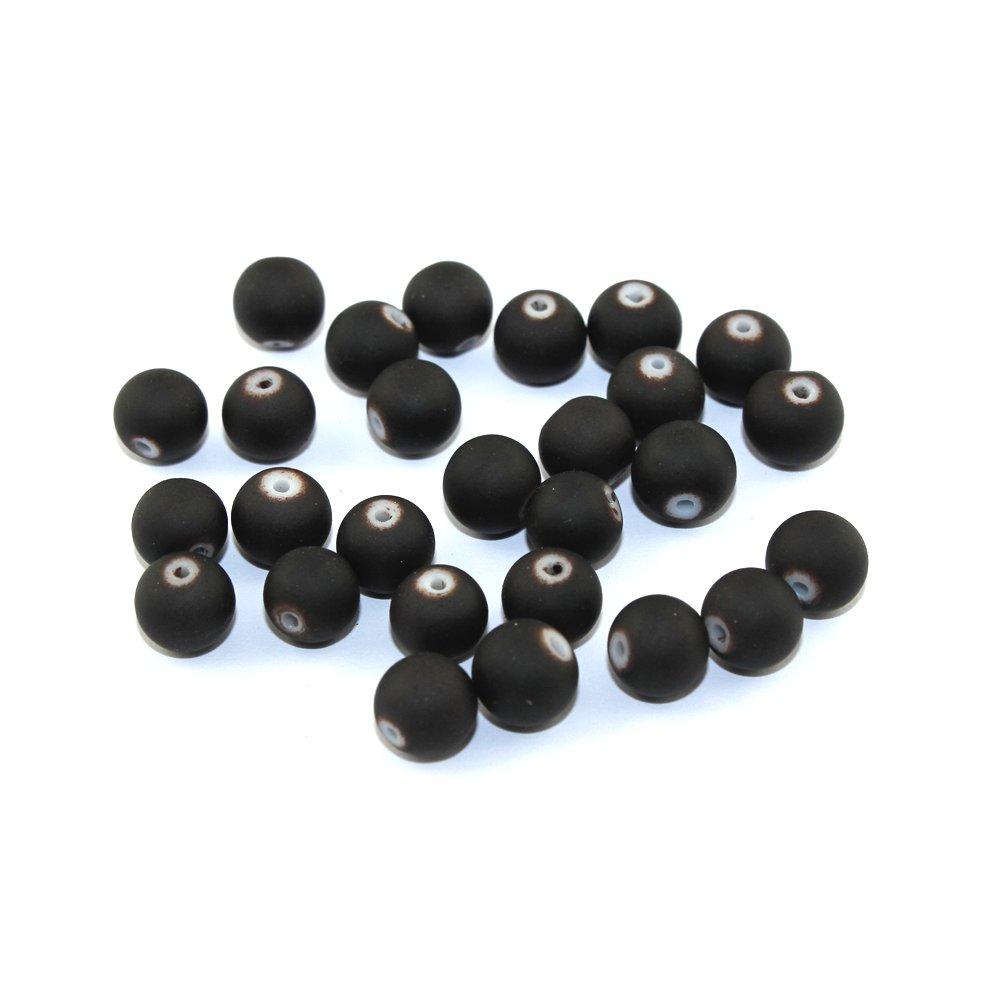 Pogumované korálky - kakaově hnědé - ∅ 8 mm - 10 ks
