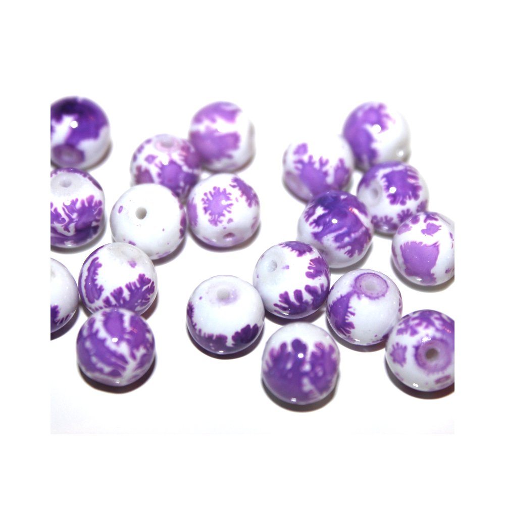 Sprejované korálky - fialovobílé - ∅ 8 mm - 10 ks