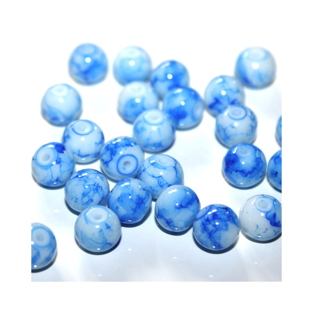 Sprejované korálky - nebesky modré - ∅ 8 mm - 10 ks