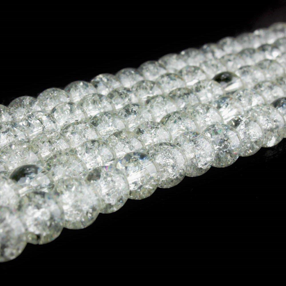 Praskané korálky - bílé - ∅ 8 mm - 10 ks