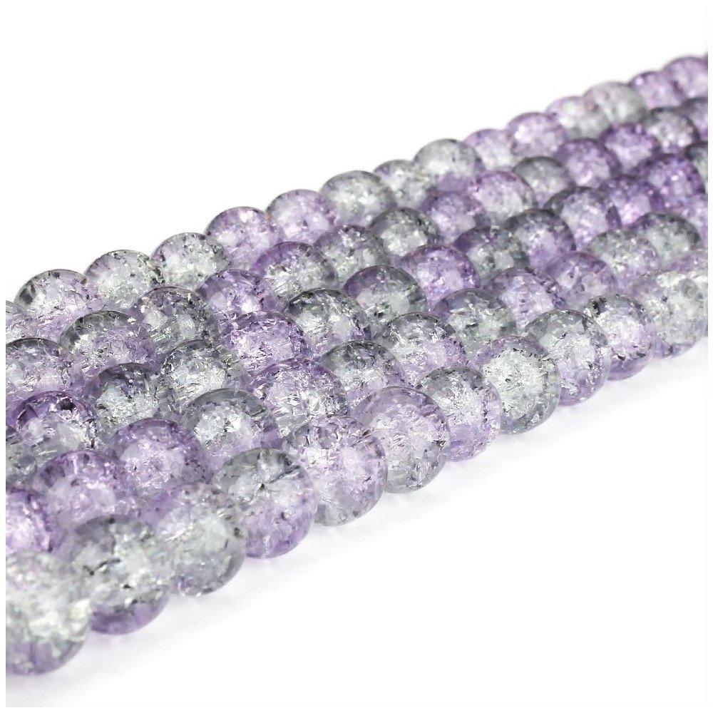 Praskané korálky - fialovošedé - ∅ 6 mm - 10 ks