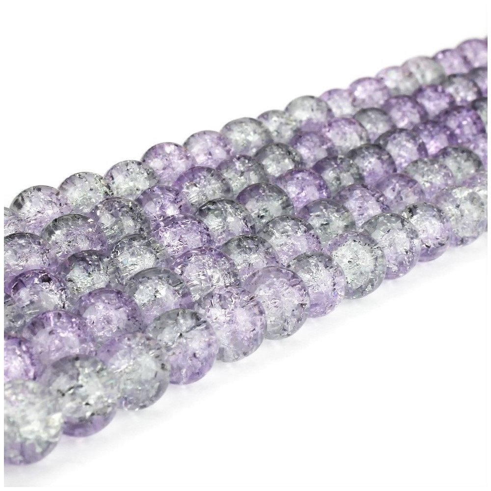 Praskané korálky - fialovošedé - ∅ 8 mm - 10 ks