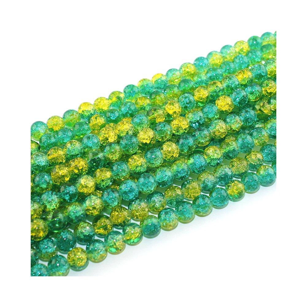 Praskané korálky - zelenožluté - ∅ 6 mm - 10 ks