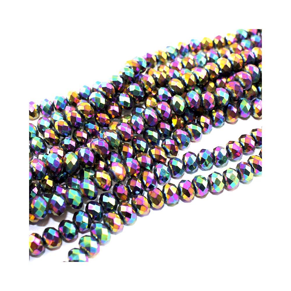 Broušené korálky - barevné - 8 x 6 mm - 10 ks