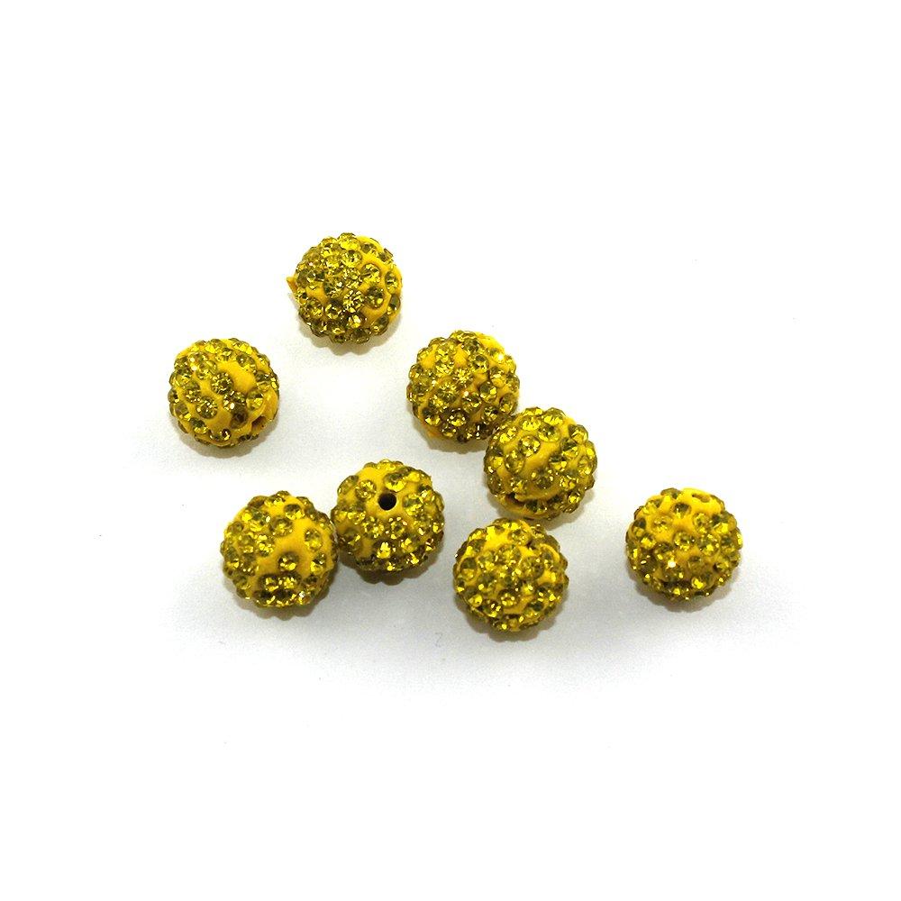 Shamballa - žlutá - 10 x 10 mm - 1 ks