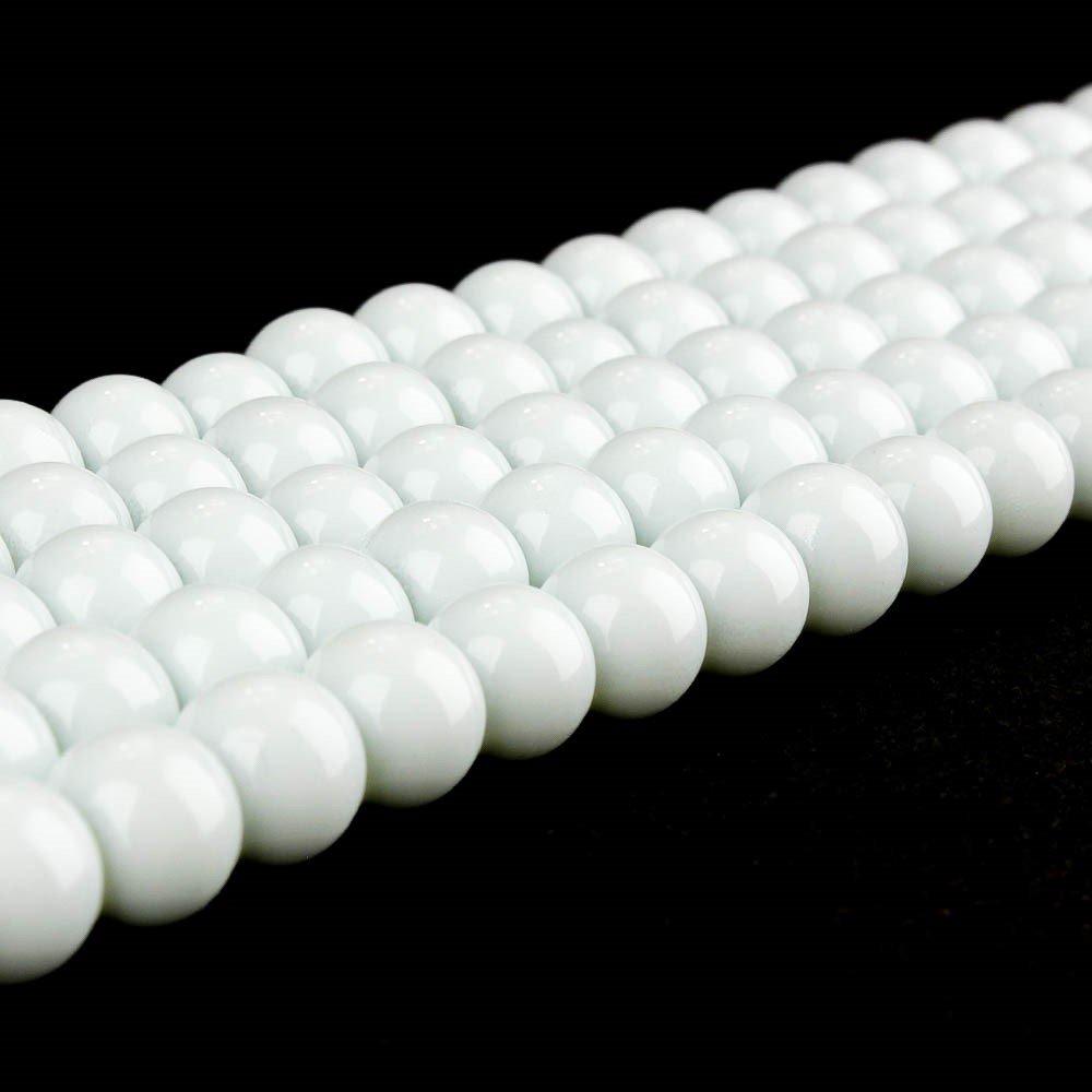 Skleněné korálky - bílé - ∅ 10 mm - 10 ks