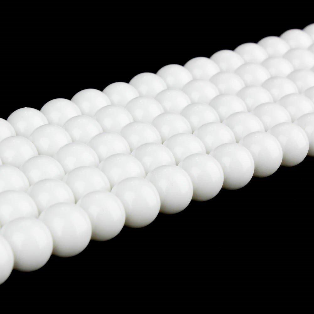 Skleněné korálky - signálně bílé - ∅ 8 mm - 10 ks