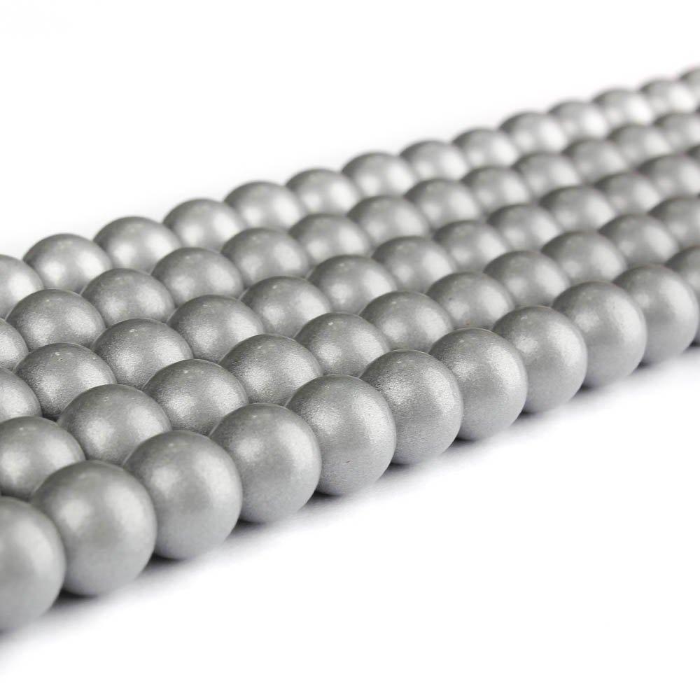 Skleněné korálky - stříbrné - ∅ 8 mm - 10 ks