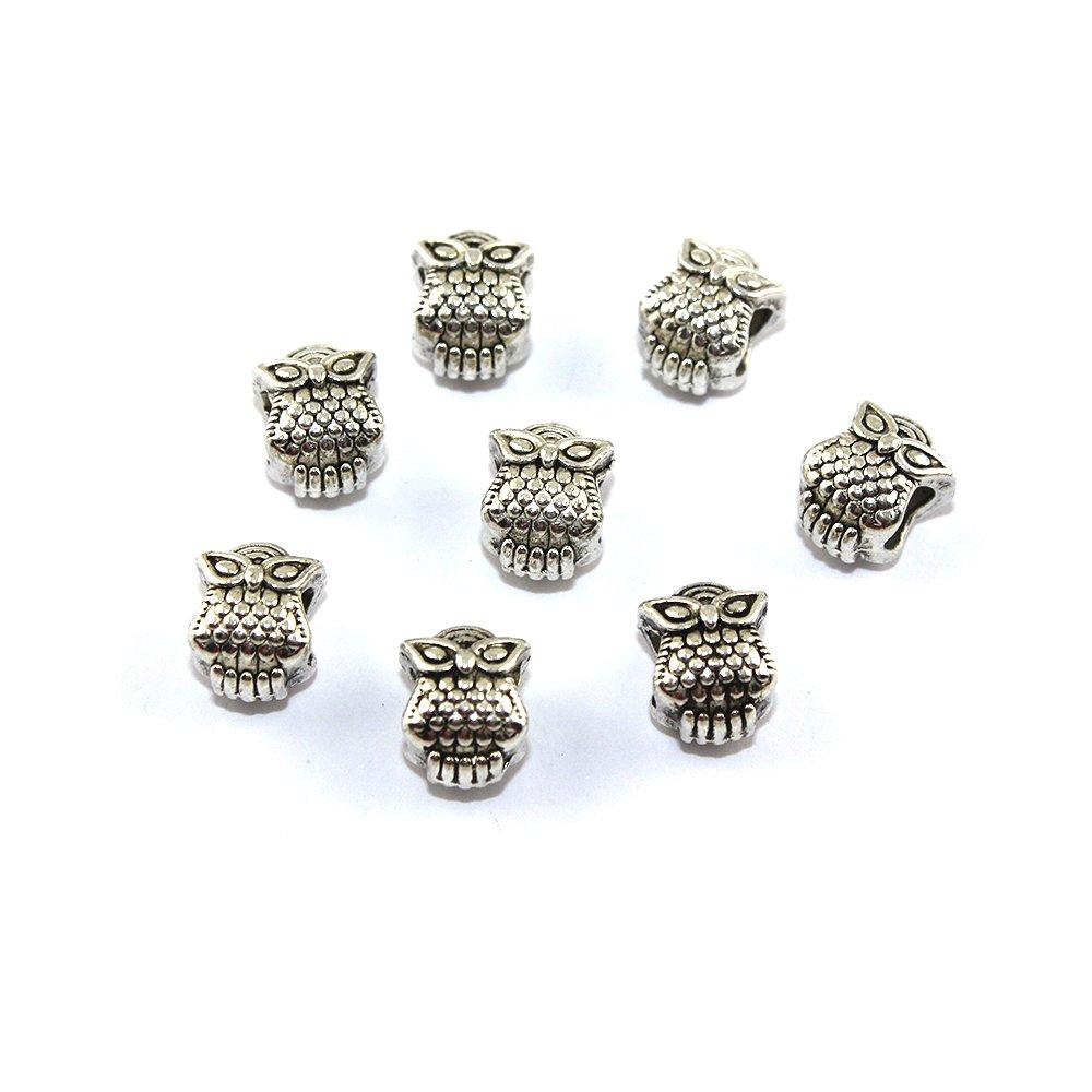 Kovový korálek - sova - starostříbrný - 10 x 8 x 8 mm - 1 ks