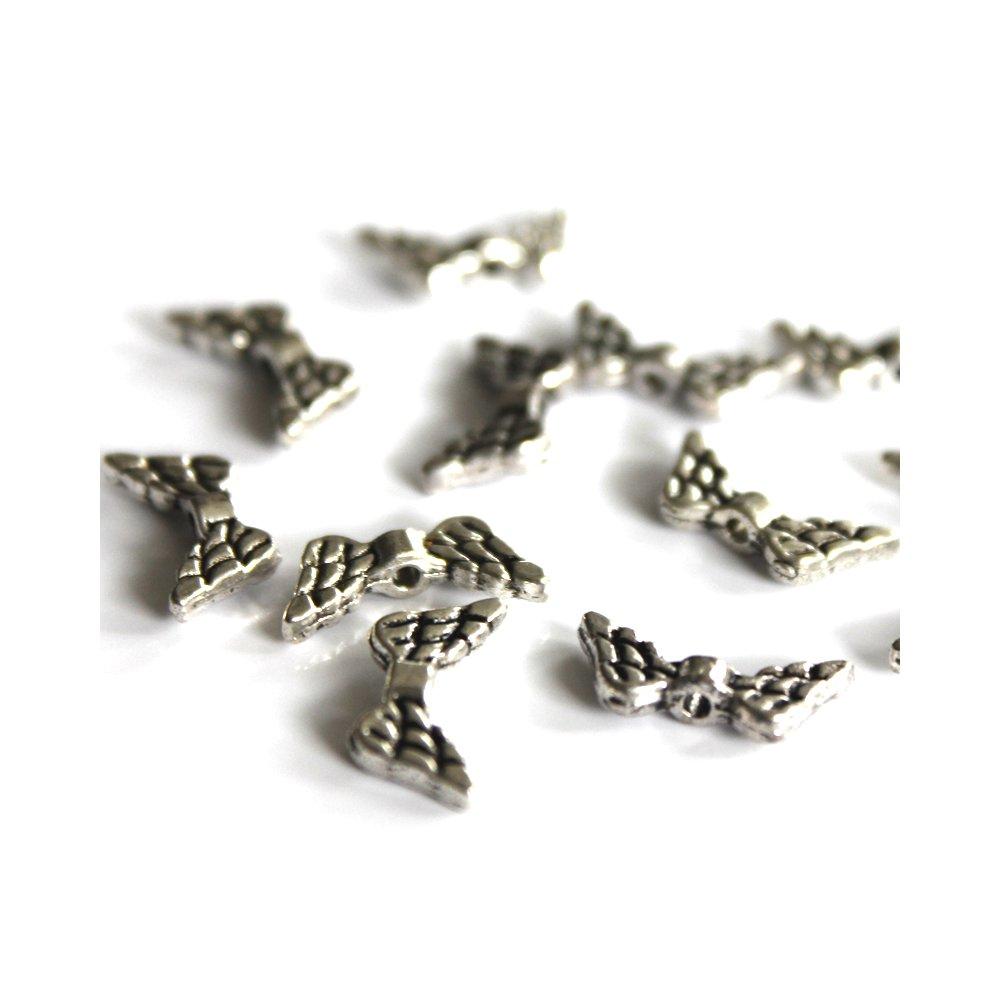 Kovová andělská křídla - starostříbrná - 9 x 20 x 3 mm - 1 ks