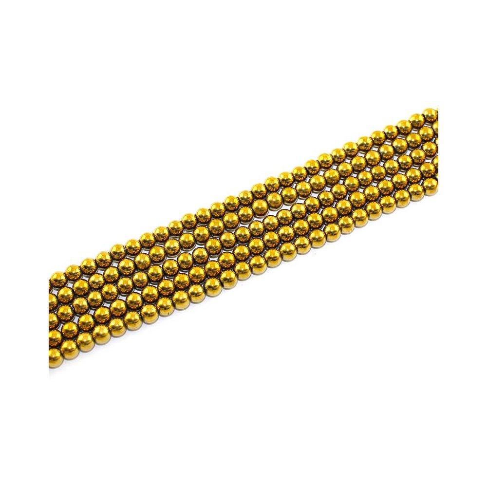 Syntetický hematit - starozlatý - třída A - ∅ 6 mm - 1 ks