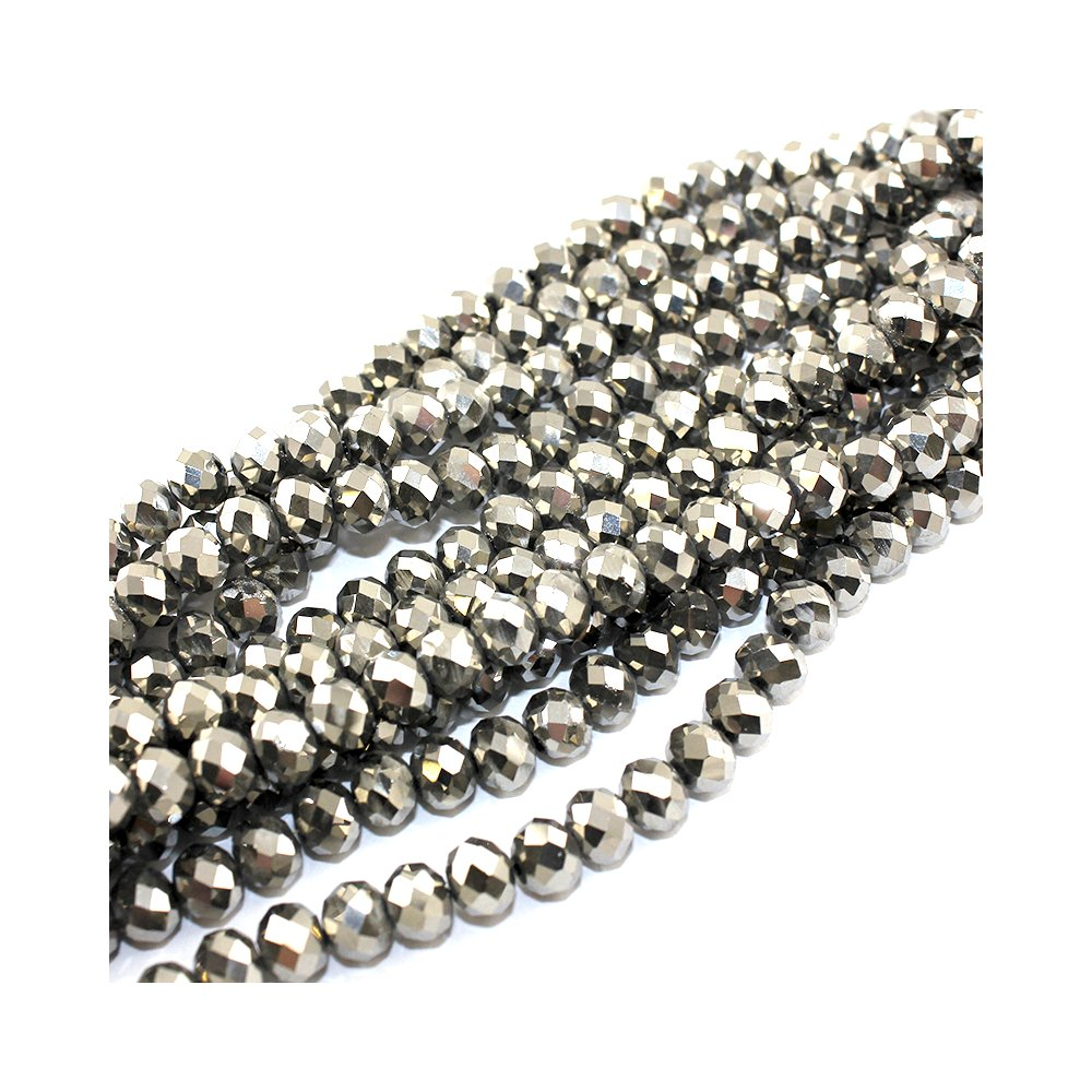 Broušené korálky - stříbrné - 8 x 6 mm - 10 ks