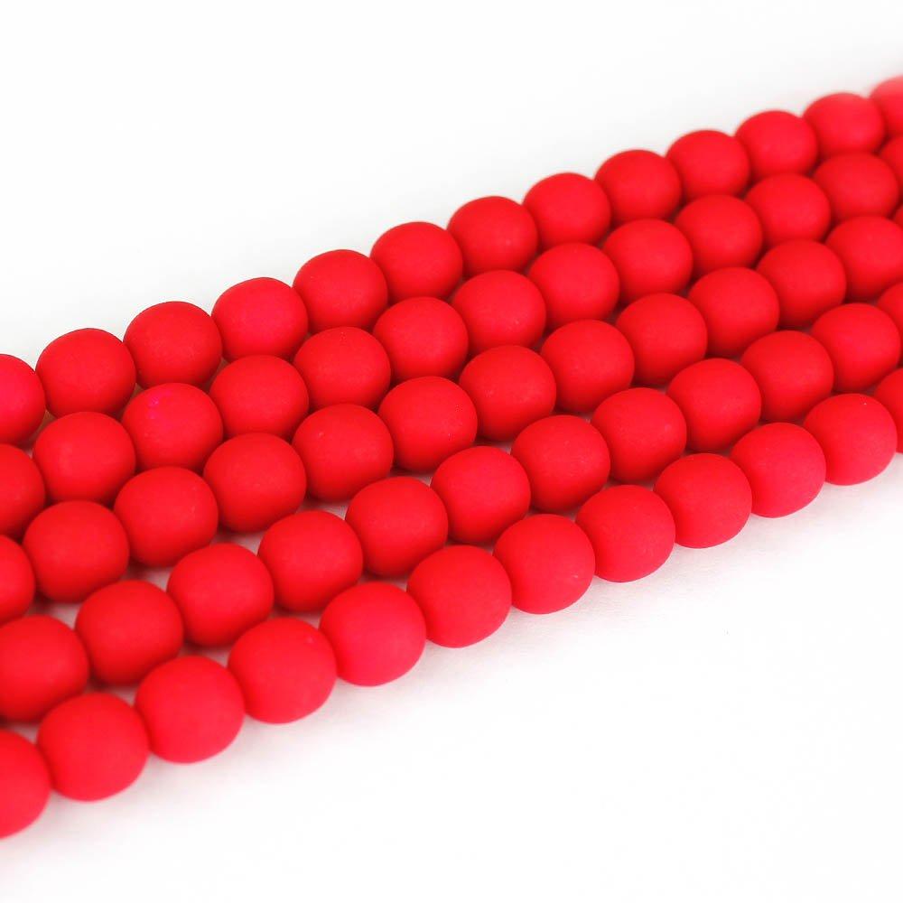 Korálky Estrela NEON - červené - ∅ 10 mm - 10 ks