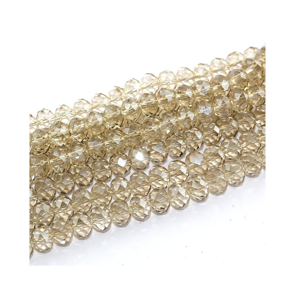 Broušené korálky - transparentní - slonová kost  - 8 x 6 mm - 10 ks
