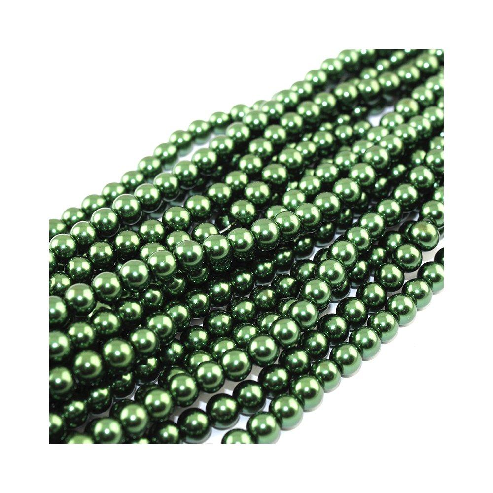 Voskované perly - tmavě zelené - Ø 8 mm - 10 ks