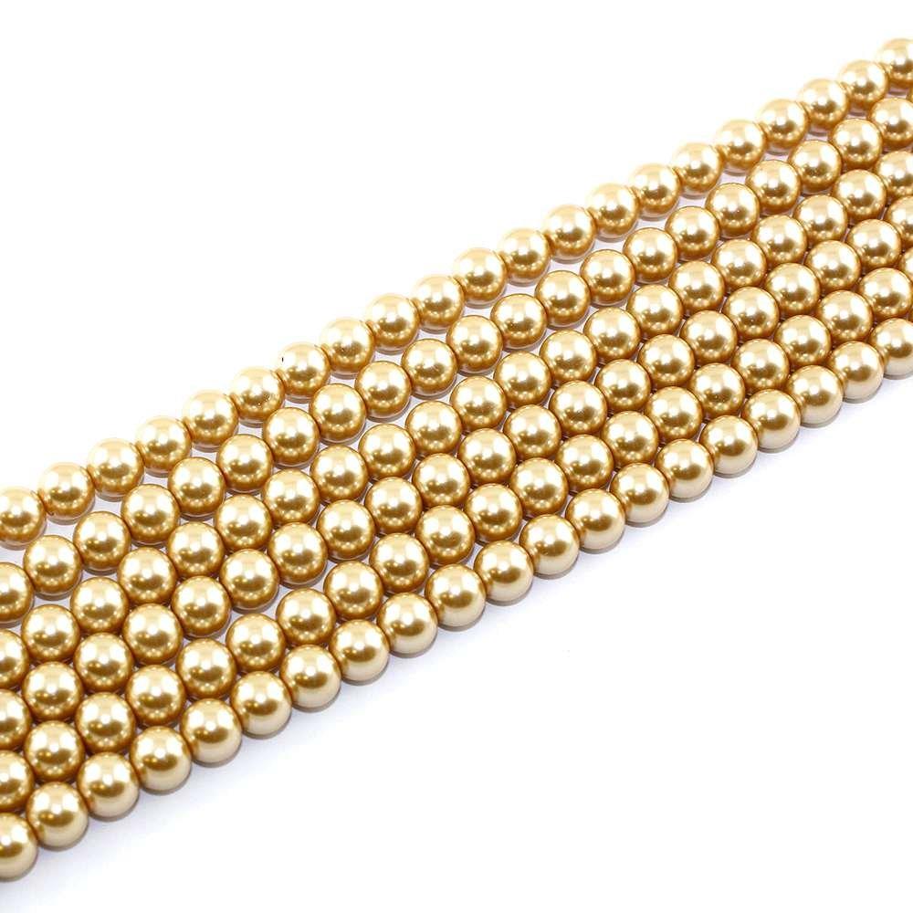 Voskované perly - béžovozlaté - Ø 8 mm - 10 ks