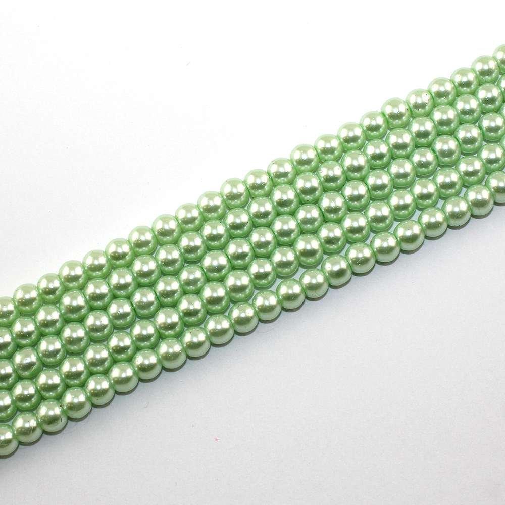 Voskované perly - limetkové - Ø 6 mm - 10 ks