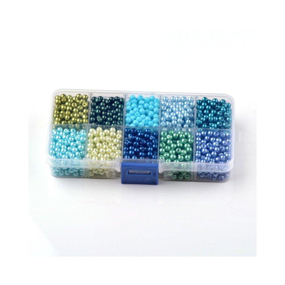 Skleněné voskované perly - mix barev - ∅ 8 mm - krabička