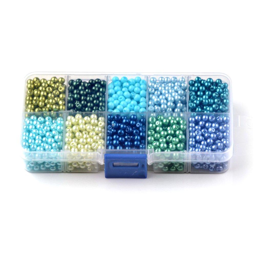 Skleněné voskované perly - mix barev - Ø 10 mm - krabička