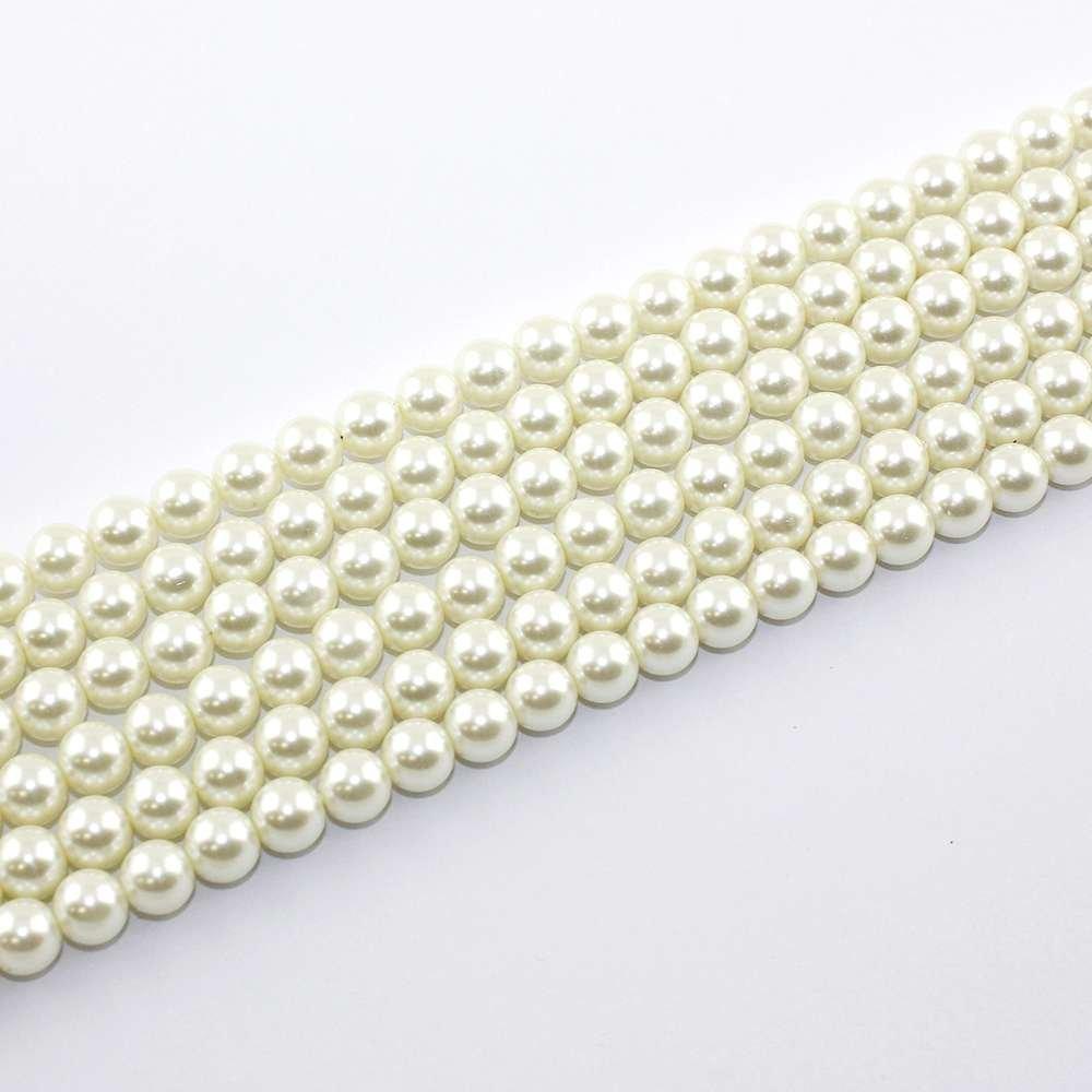 Voskované perly - šampaň - Ø 8 mm - 10 ks