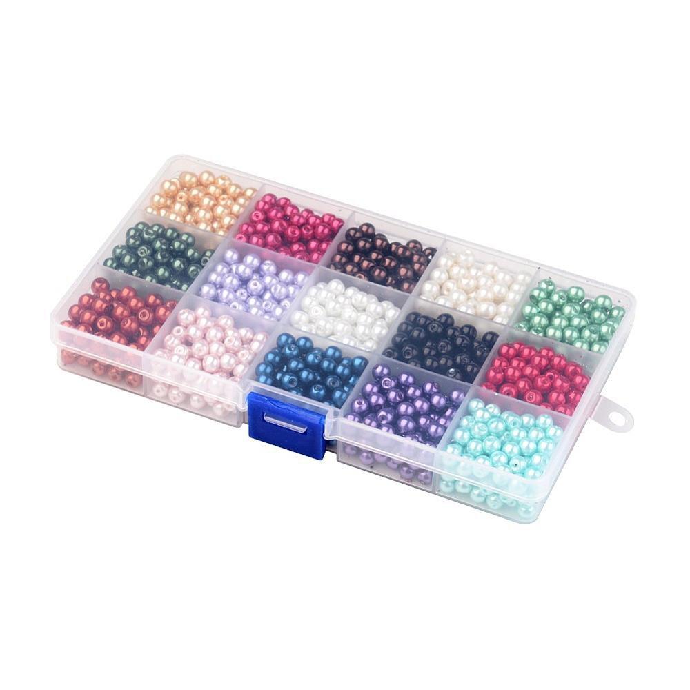 Voskované perly - mix barev - Ø 8 mm - krabička