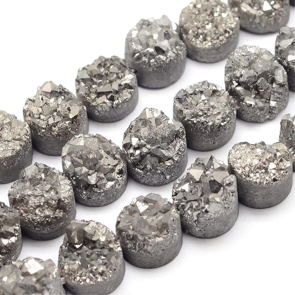Pokovená drúza z přírodního křišťálu - šedá - 7~12 x 7~12 - 5~10 mm - 1 ks